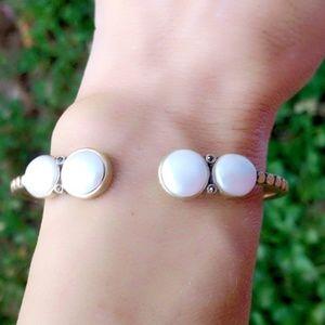 Lucky Brand Gold & Pearl Hinged Cuff Bracelet- NIB